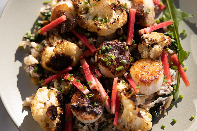 Sea Scallops, Cauliflower, Brown Butter, Pistachios, Radish, Wild Rice