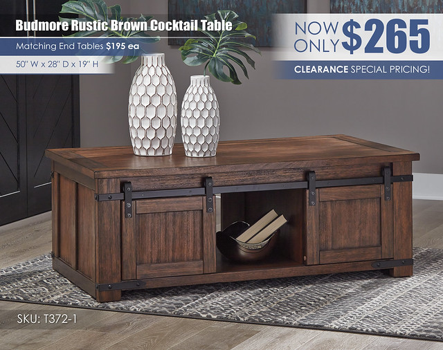 Budmore Rustic Brown Cocktail Table_T372-1