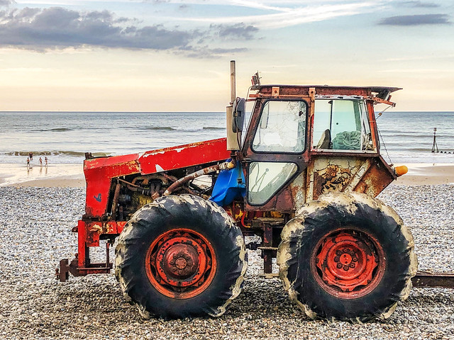 Red beach tractor
