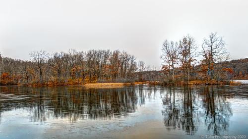 hiking autumn trees lake winter reflection michigan