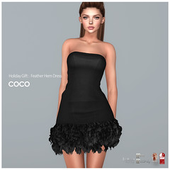 Holiday Gift : Feather Hem Dress