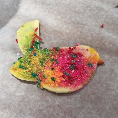 a beautiful sparkly bird cookie