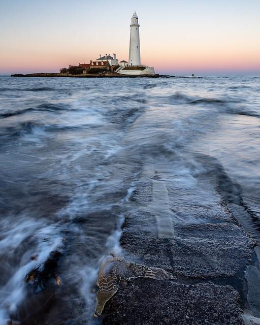 Waves on St Mary's Island causeway