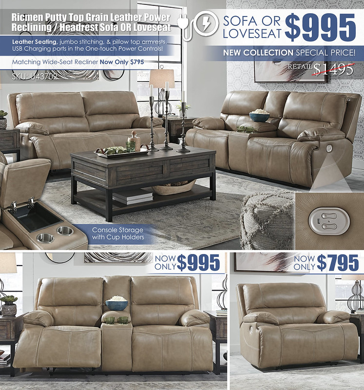 Ricmen Putty Power Reclining Sofa OR Loveseat Layout_U43702_Update