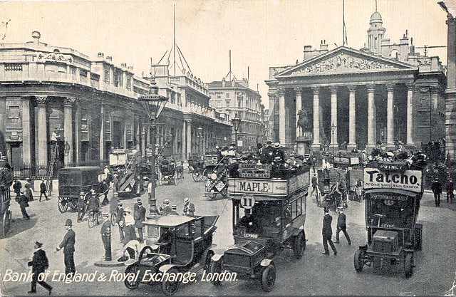 Bank of England and Royal Exchange London postcard circa 1910