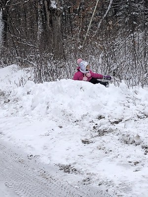 up on the snowpile
