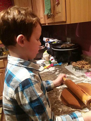 rolling out gingerbread