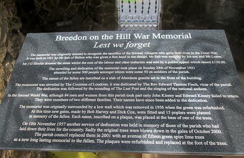 War Memorial Plaque, Breedon on the Hill,