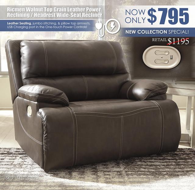 Ricmen Walnut Power Leather Wide Seat Recliner_U43701_Update