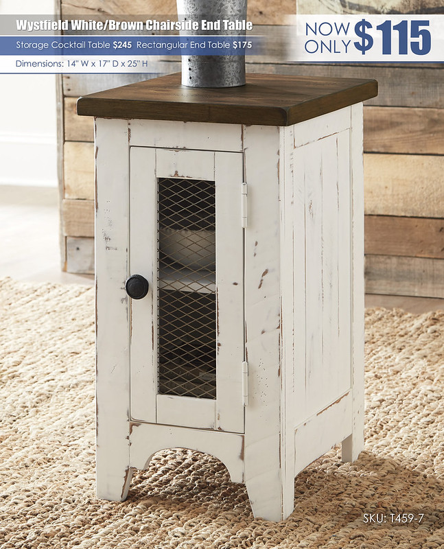 Wystfield White Brown Chairside End Table_T459-7