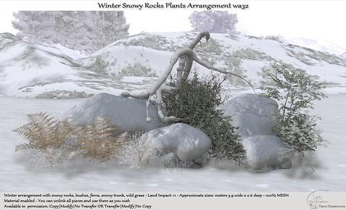 .:Tm:.Creation Winter Snowy Rocks Plants Arrangement wa32