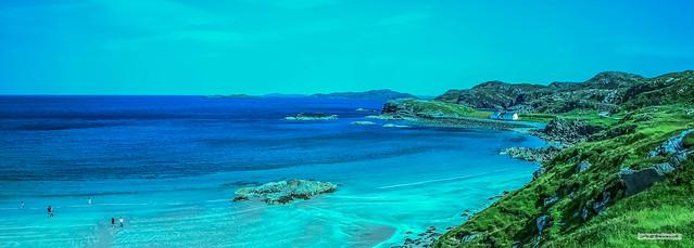 Remote but beautiful Clashnessie Beach in Sutherland.