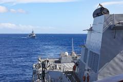 HMNZS Te Kaha (F77) approaches USS Michael Murphy (DDG 112) while sailing together, Dec. 8. (U.S. Navy/MC3 Jaimar Carson Bondurant)
