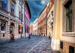 View of historic Kanonicza Street looking north from the Copernicus Hotel, Krakow, Poland.  396-Edita