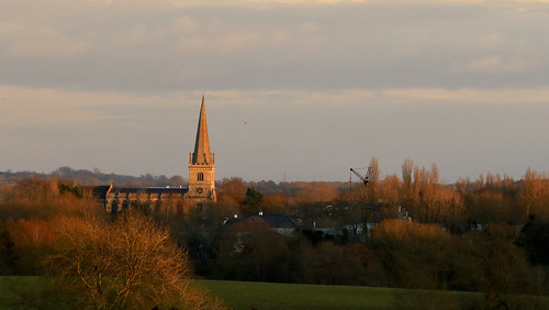 buckingham sspeterandpaul sunset spire church winter fields trees