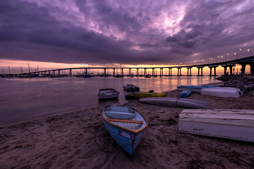 coronado coronadobaybridge beach bay water boat dinghy sunrise clouds bridge sand peace traquility stillness r5