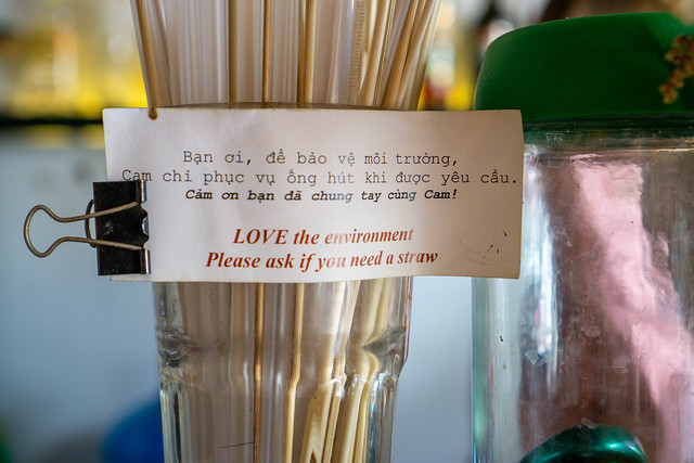 Love the environment note on a Cocktail Glass with many Plastic Straws in a Cafe in Saigon, Vietnam