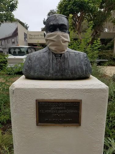Covid Mask: Thurgood Marshall Statue UCSD