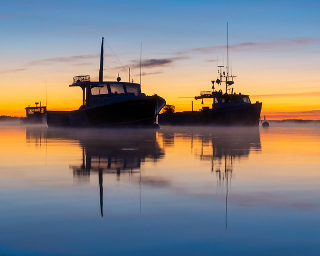 Three Lobster Boat Silhouettes at Camp Ellis at Sunrise