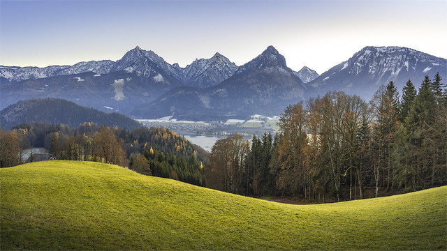 _DSC30878 Southern mountain landscape of Strobl Village at the Wolfgangsee Lake / Upper-Austria