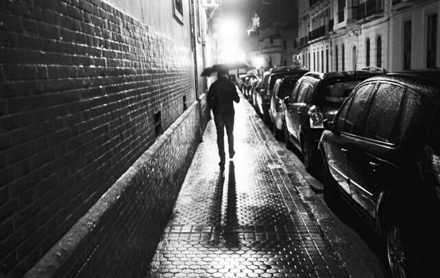 Man on a rany night
