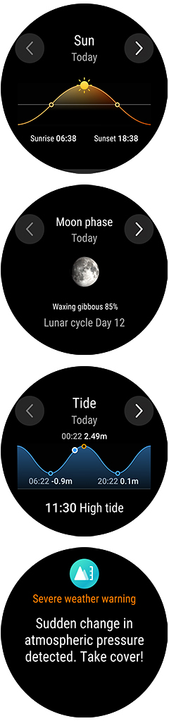 Weather information includes daily and weekly forecasts with information about sunrise and sunset, moonrise and moonset, moon phases and tide time.