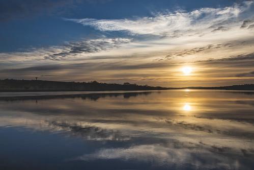 autumn grannagh kilkenny landscape leinster outdoor reflection suir sun sunset water clouds ireland river sky
