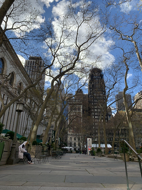 No booths on this side of Bryant Park this year