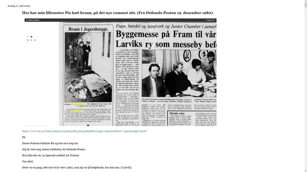 brann desember 1980 var på nytt rom