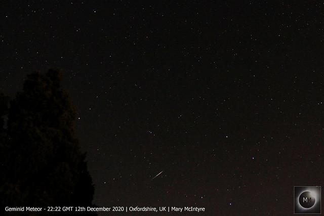 Geminid Meteor 22:22 GMT 12/12/20