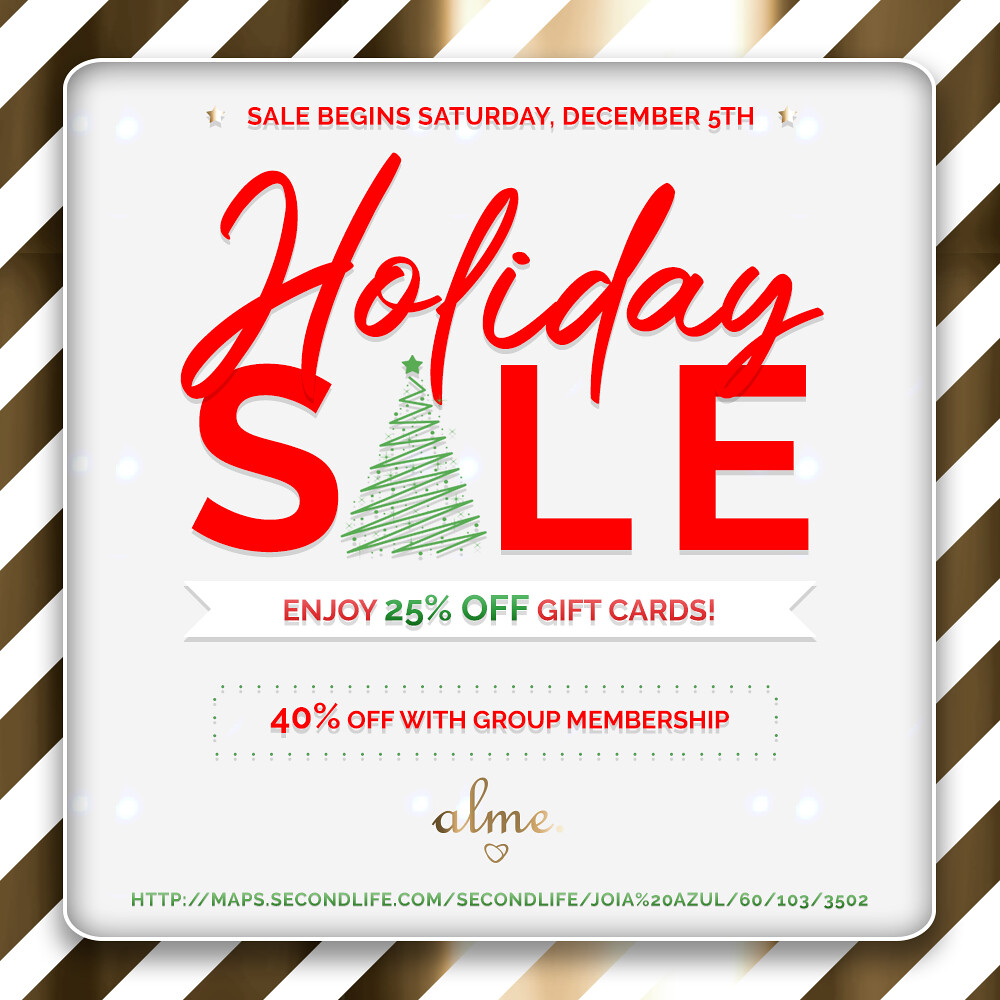 Alme. in Second Life Giftcards Holiday Sale!! 🎄🎁