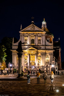 Night view of the Saints Peter and Paul Church in Strzegom located in the Old Town, Krakow, Poland. 411-Edit