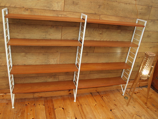 Staples,London Ladderax narrow wall shelving system 60's.