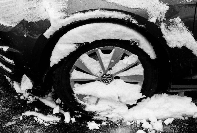 Snow Covered Tire Still Life