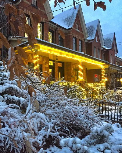 Snow and yellow porch lights on Markham St, Toronto | by Matthew Burpee