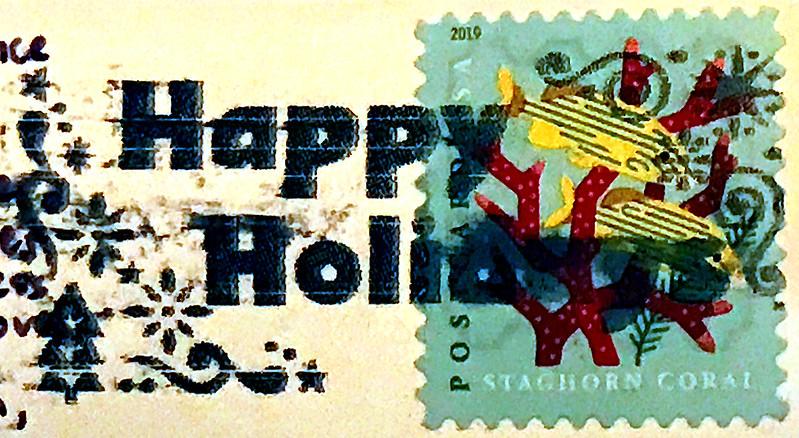 Happy Holidays postcard stamp