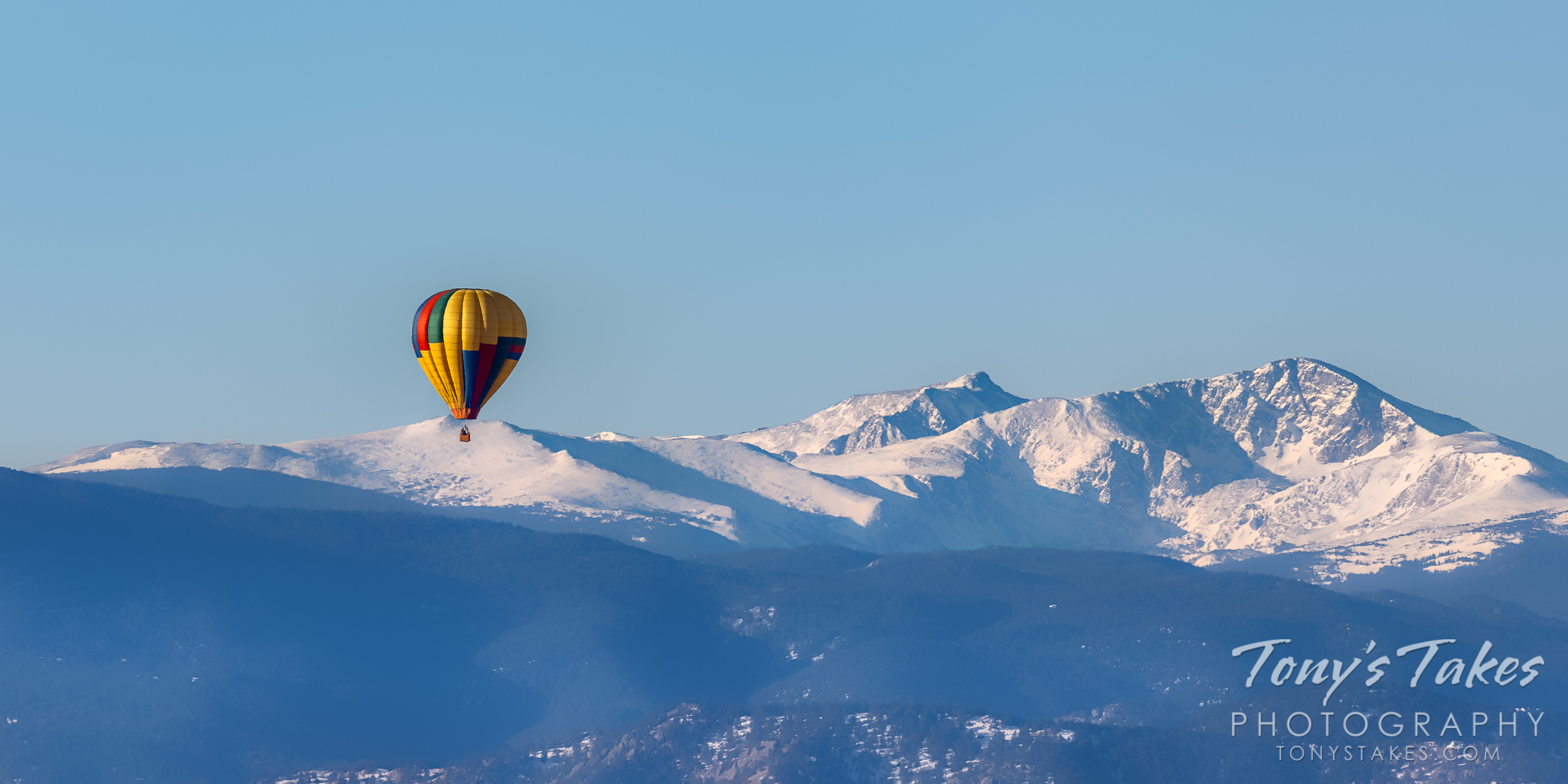 Hot air balloon and the Rocky Mountains