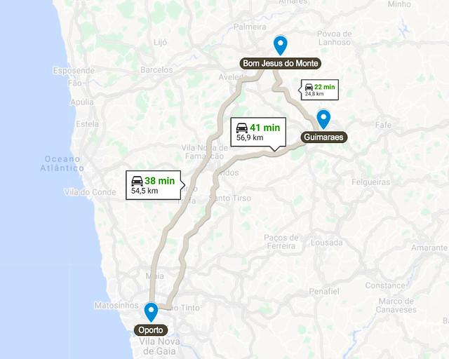 Mapa de Oporto a Braga y Guimaraes