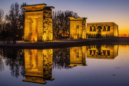 madrid spain temple debod sunset night andreapucci