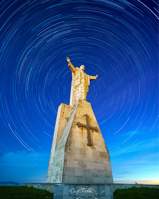 startrail on the christ of naranco in oviedo