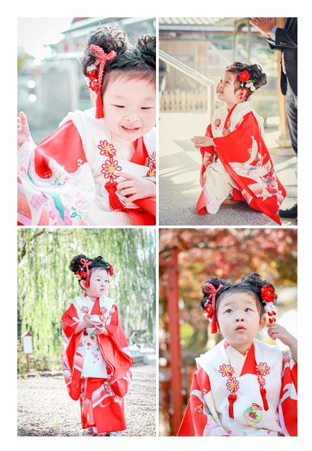 七五三のロケーション撮影 3歳の女の子 名古屋市の興正寺にて