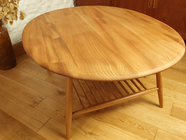 Ercol Elm & Beech Windsor  large coffee table & spindle rack.