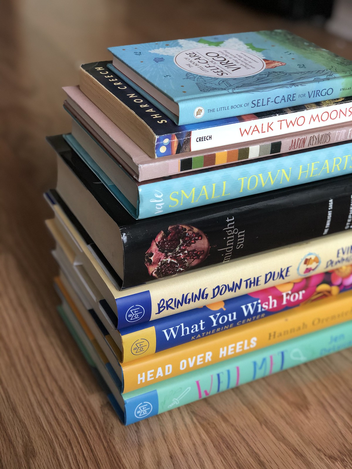 Late summer book stack.