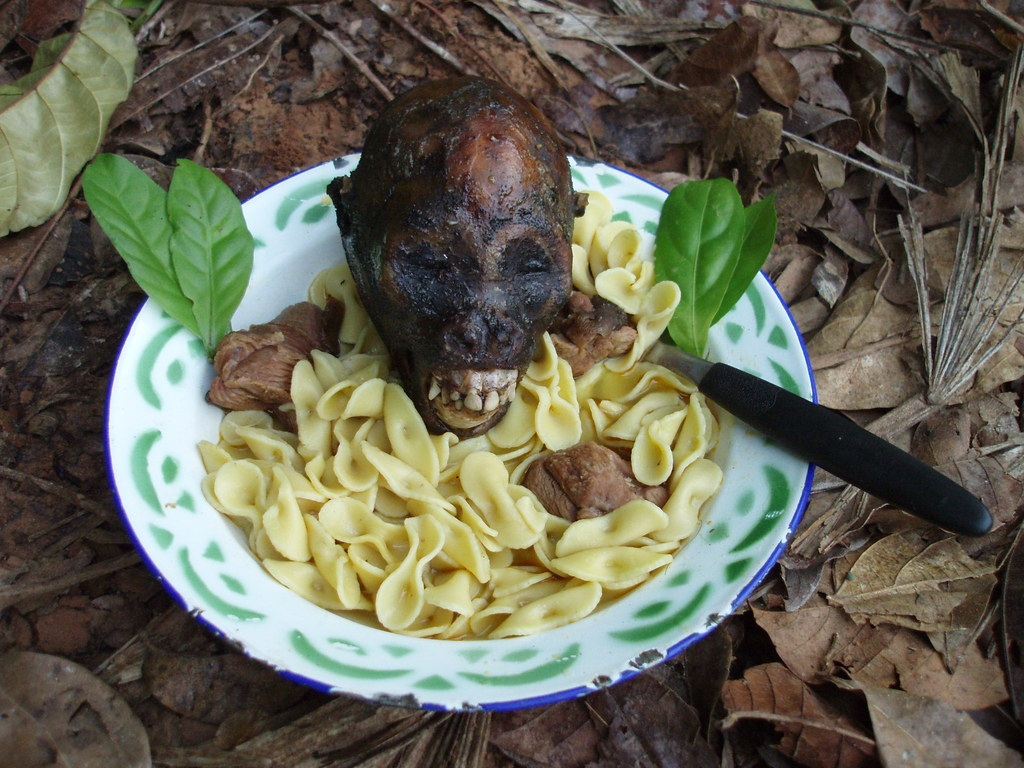 Breakfast is served! Waking up at 6am, spider-monkey cooked on the fire during the night, thrown into a pot of pasta in the morn, voilà, the jungle equivalent of Kellogg's cereal is ready to eat.