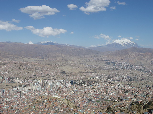 A view of central La Paz, with Nevado Illimani to the right at 6438 meters