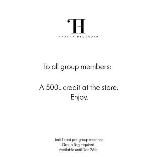 Thalia Heckroth - 500L Gift Card to all group members.