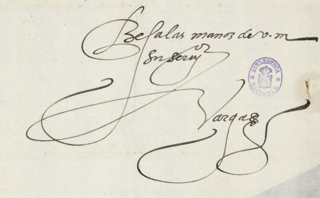 Firma de Diego de Vargas, en una carta escrita a Hernando de Vega  el 24 de mayo de 1554 desde Bruselas. Biblioteca Nacional de España, signatura MSS/20215/23/2