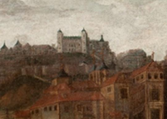 El Palacio de Vargas en una Vista de Toledo. Anónimo. Siglo XVIII. Museo del Greco. (detalle)