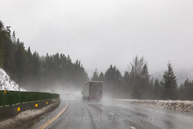 Semi on Snowy Interstate 90