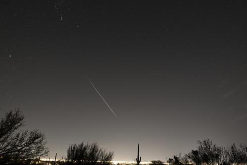 Bright Geminid meteor over Tucson AZ
